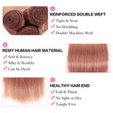 Queen Remy Human Hair 3 Bundles Straight Hair Weave Pink Color