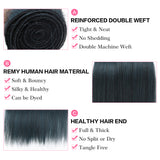 Queen Remy Human Hair 3 Bundles Straight Hair Weave Ink Blue Color