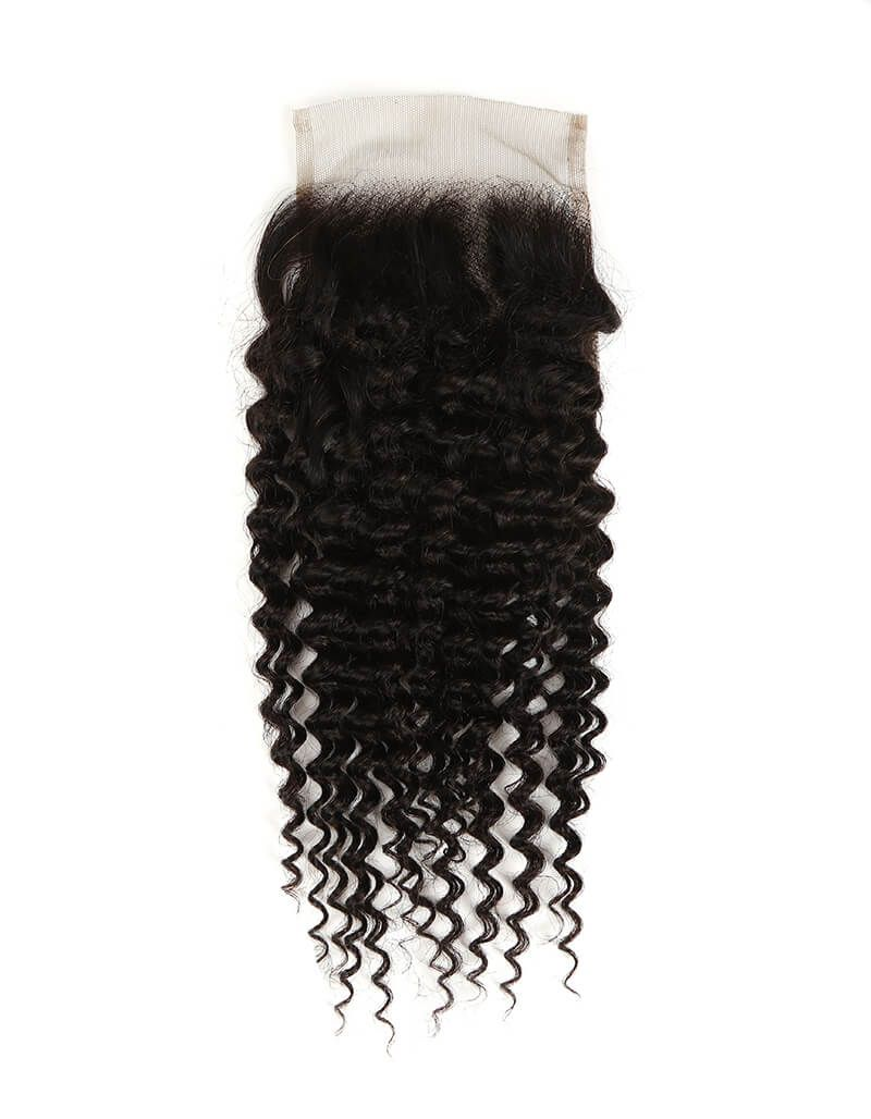 natural kinky curly human hair 4*4 lace closure
