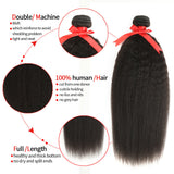 natural kinky straight human hair bundle detail
