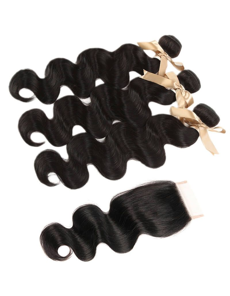 Queen Remy 3 Bundles Natural Black Body With 4x4 Lace Closure