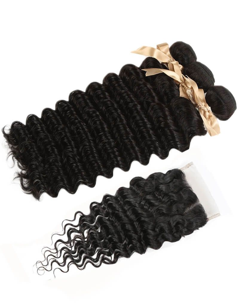 Queen Remy 3 Bundles Natural Black Deep With 4x4 Lace Closure