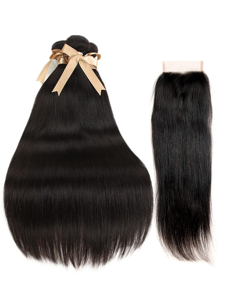 Queen Remy 3 Bundles Straight With 4x4 Lace Closure