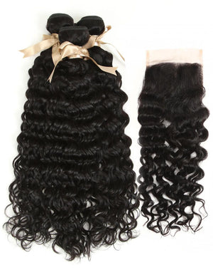 Queen Remy 3 Bundles Natural Black Water Wave With 4x4 Lace Closure