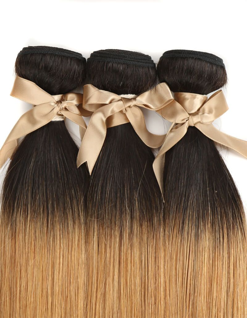 Queen Remy 3 Bundles Straight Hair T1B/27