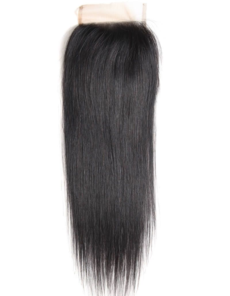 Queen Remy 3 Bundles Natural Black Straight With 4x4 Lace Closure