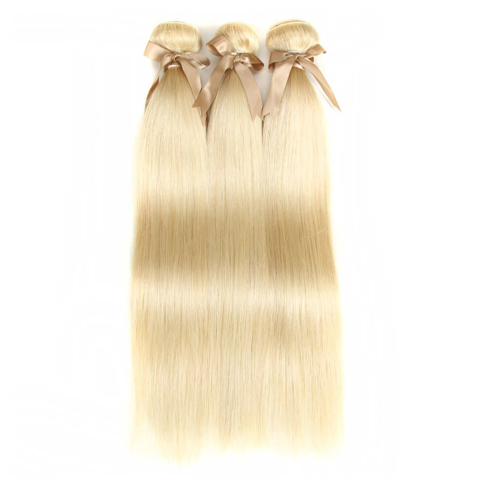 Queen Remy Blonde Straight Hair 3 Bundles With 4x4 Lace Closure