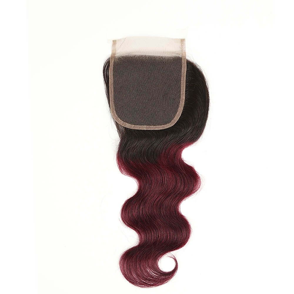 Queen Remy 3 Bundles Body With 4x4 Lace Closure T1B/99J