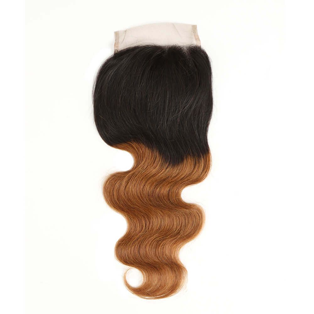 Queen Remy 3 Bundles Body With 4x4 Lace Closure T1B/30