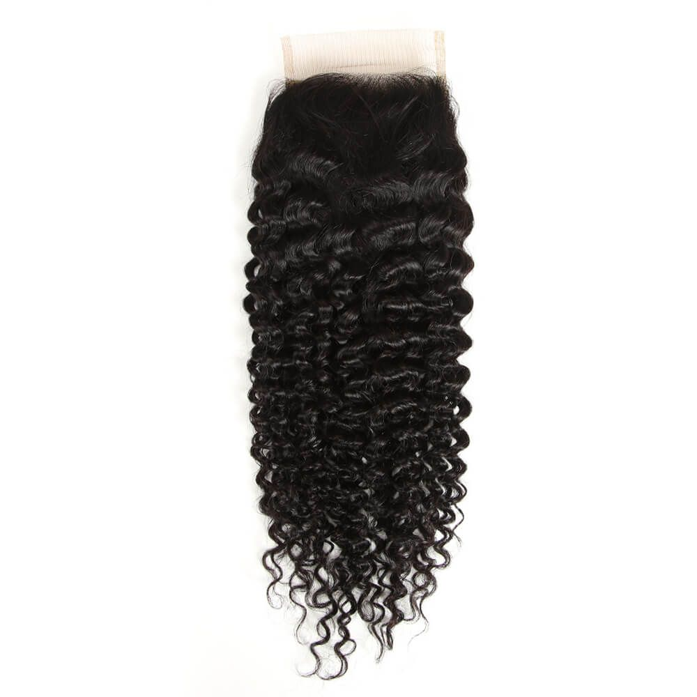 Queen Remy 3 Bundles Jerry Curl With 4x4 Lace Closure