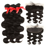 natural human hair body wave with 13*4 lace frontal