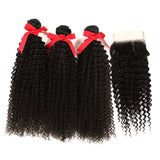 natural kinky curly human hair 3 bundles with 4*4 lace closure