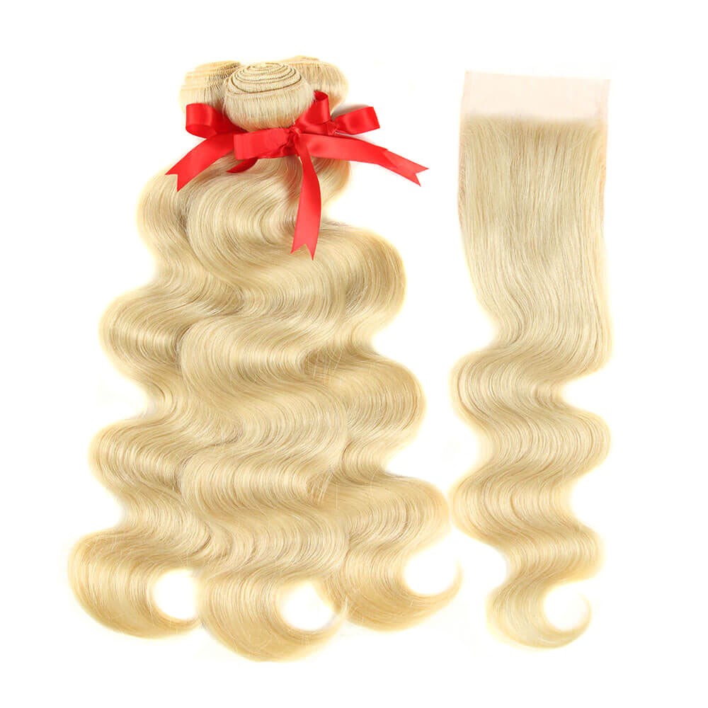 blonde human hair body wave with 4*4 lace closure