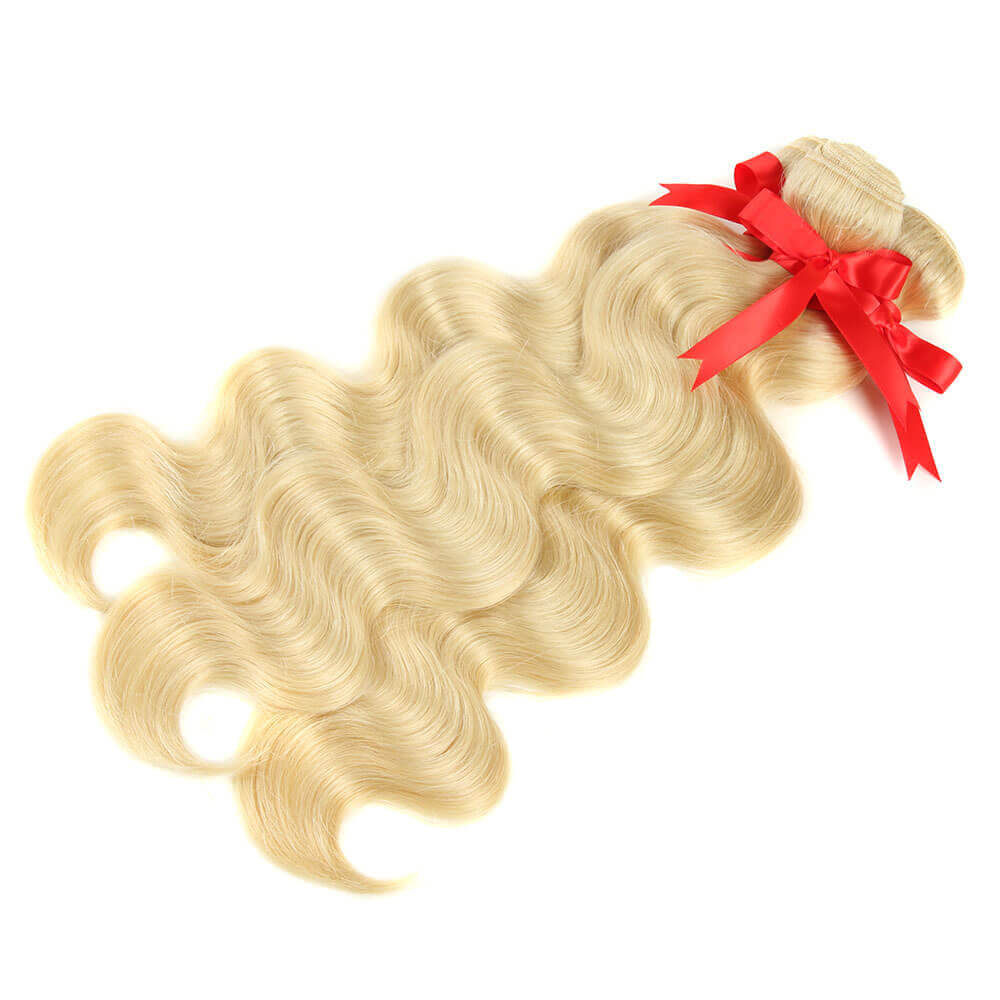 blonde human hair body wave with 4*4 lace closure bundles