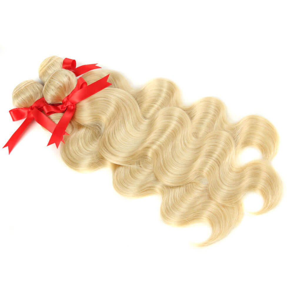 blonde human hair body wave with 4*4 lace closure bundles-2