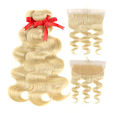 Blonde Body Wave 3 Bundles With 13*4 Lace Frontal