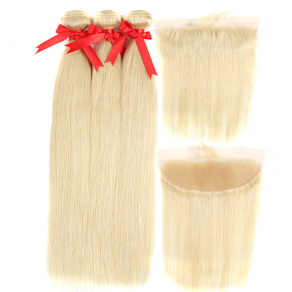 blonde straight human hair bundles with 13*4 lace frontal