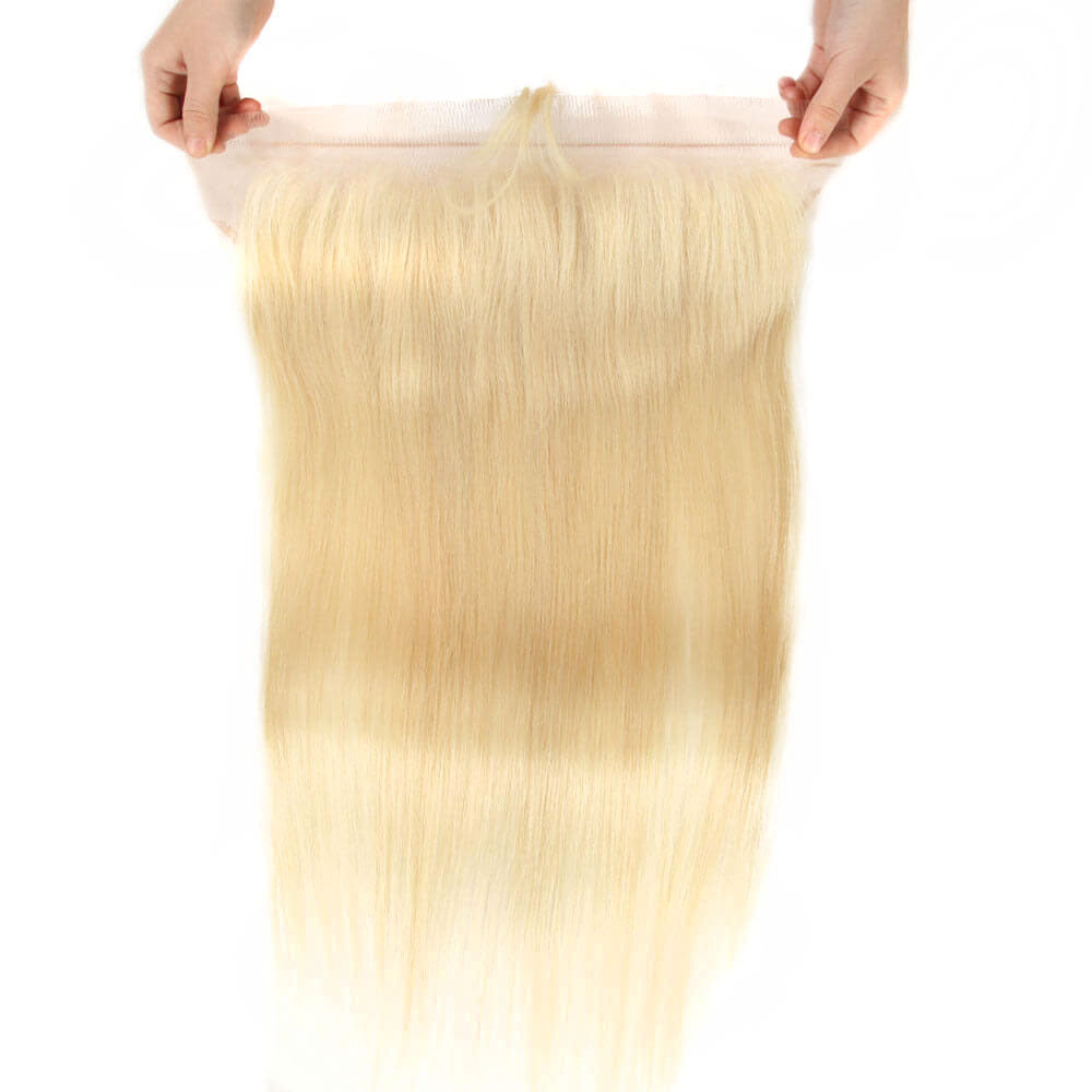 blonde straight human hair bundles with 13*4 lace frontal lace
