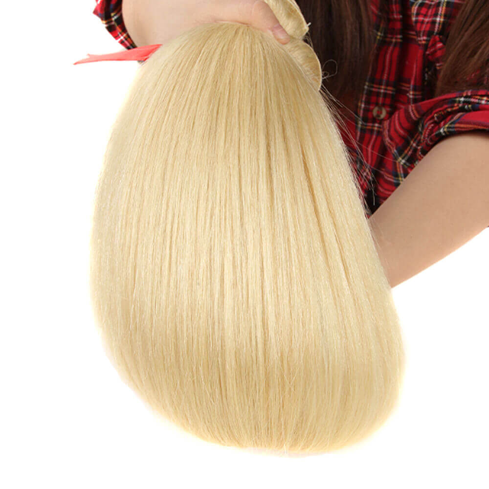 blonde straight human hair bundles with 13*4 lace frontal bundles show