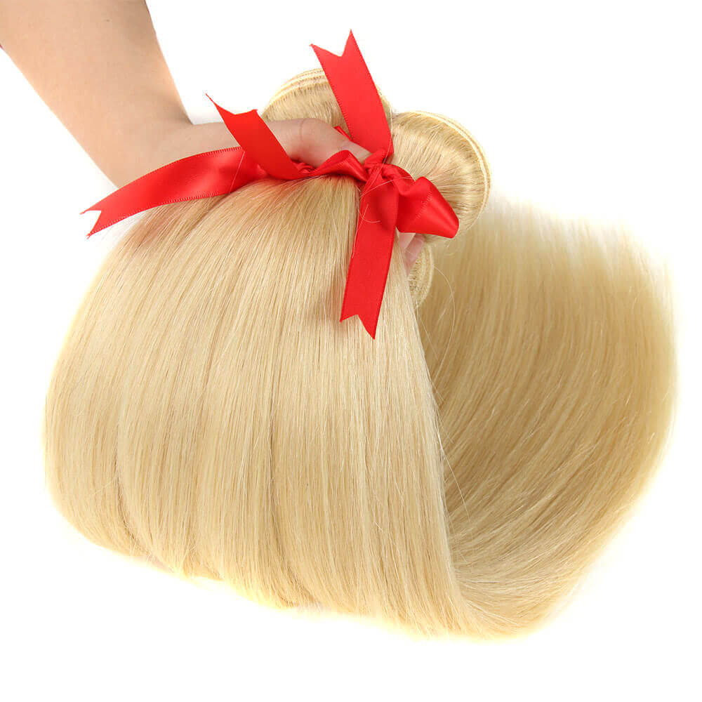 blonde straight human hair bundles with 13*4 lace frontal bundles show-2