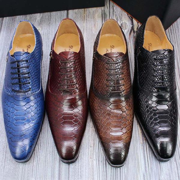 Snake Skin Prints Pointed Toe Oxford Men Leather Shoes