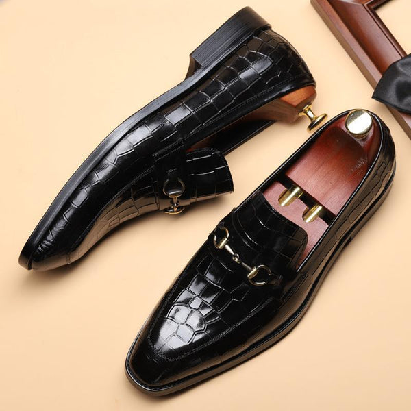 Crocodile Pointed Toe Slip-on Formal Shoes