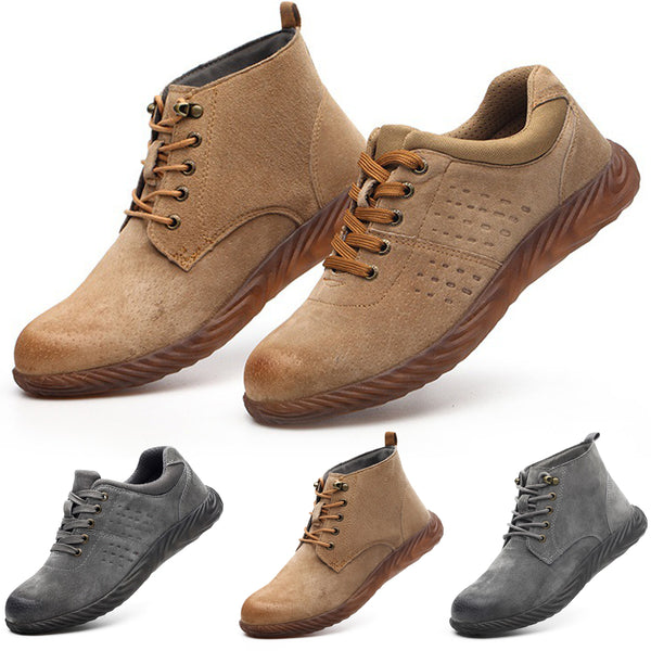 Men Outdoor Labor Shoes Pig Leather Steel Breathable Hiking Boots