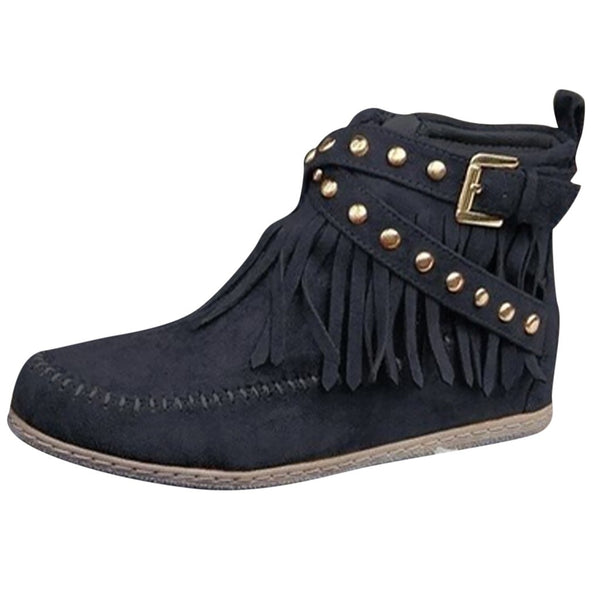 Tassels Big Size Round Toe Women Ankle Short Boots