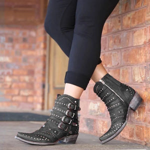 New Buckle Low Heel Women Boots Cool British Rivet Design