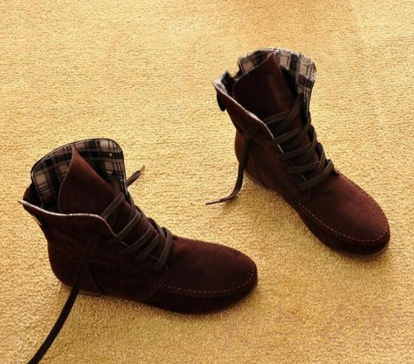 Woman Flat Ankle Snow Motorcycle Boots Suede Leather Lace-Up