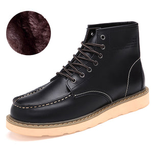 Fashion Cowhide Split Autumn Winter Warm Fur Vintage Motorcycle Boots