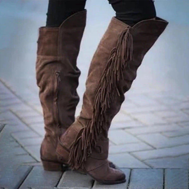 Women Long Boots Tassel High Heels Knee High Boots