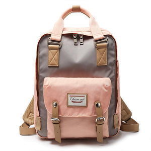 Waterproof Vintage Travel Backpack Backpacks PacksOnBack Pink with gray Small