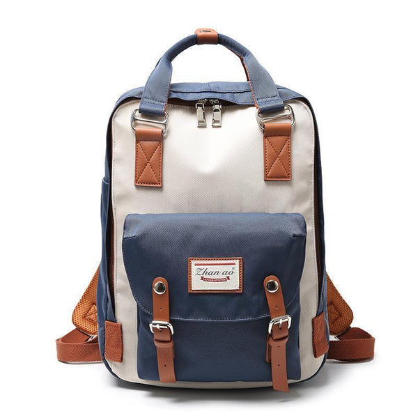 Waterproof Vintage Travel Backpack Backpacks PacksOnBack Lake blue with beige Small