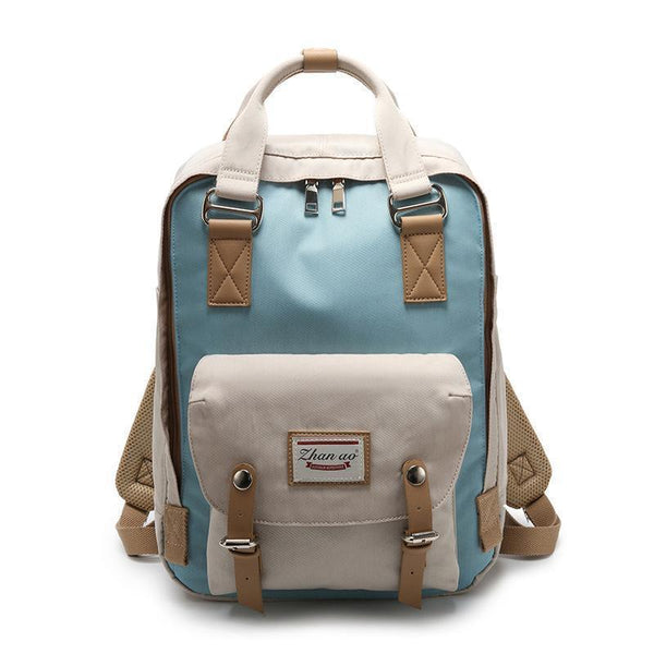 Waterproof Vintage Travel Backpack Backpacks PacksOnBack Beige with blue Small