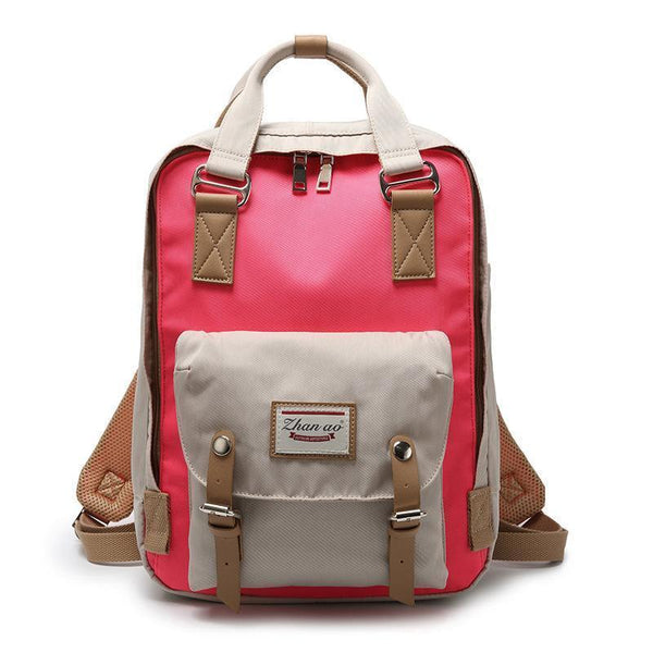 Waterproof Vintage Travel Backpack Backpacks PacksOnBack Gray with red Small
