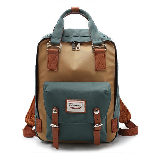 Waterproof Vintage Travel Backpack Backpacks PacksOnBack Green with khaki Small
