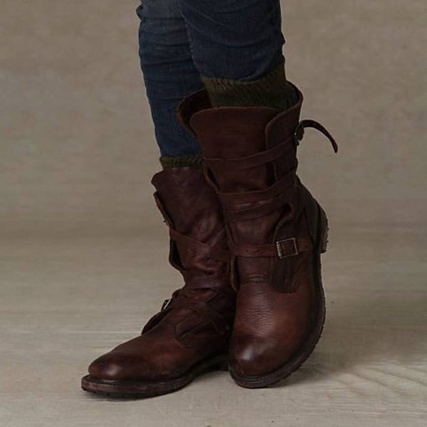 WOMEN VINTAGE RIDING CASUAL CHIC BUCKLE BOOTS