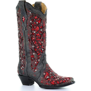 Women's Crystal Red Sequin Inlay Cowgirl Boots