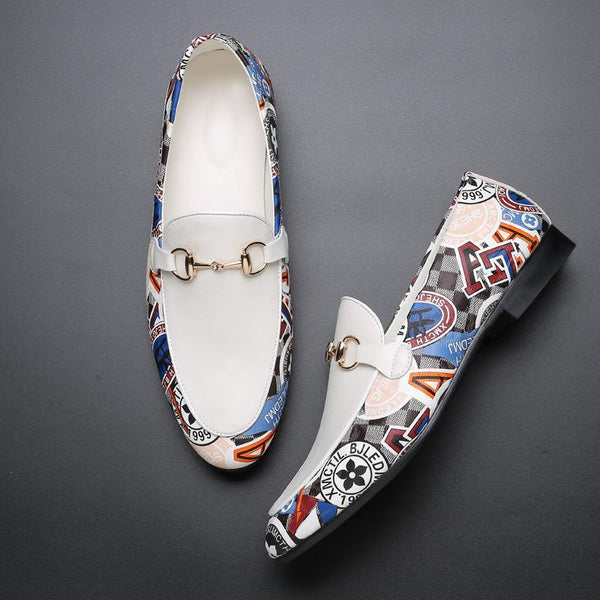 New Arriving Buckle Splice White Loafer
