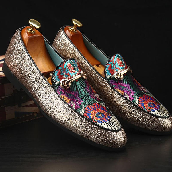 Embroidery Splice Shinny Loafers