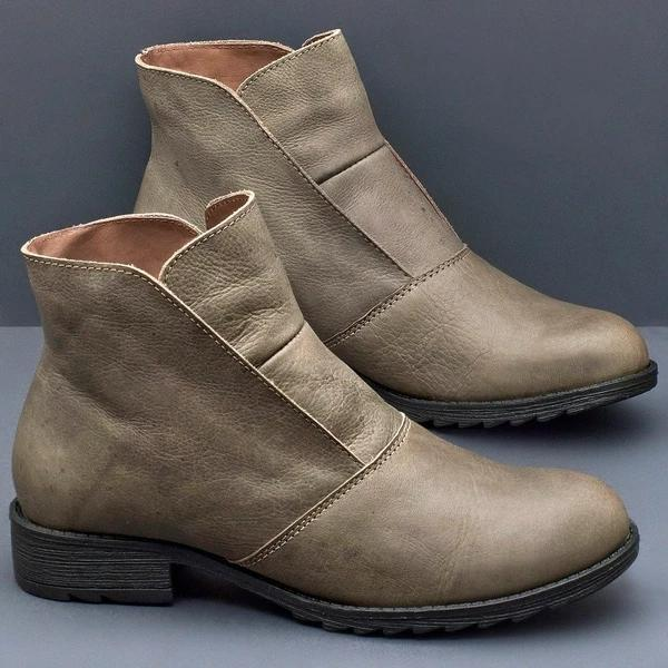 Spring/Fall Casual Leather Flat Boots