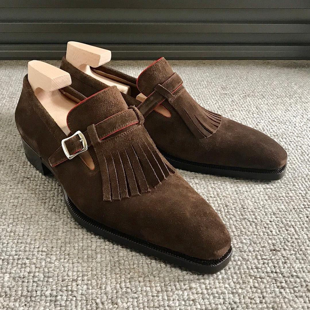Suede Tessel Side Buckle Dress Shoes