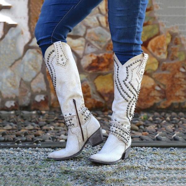 Rivets Pointed Toe Western Cowboy High Boots