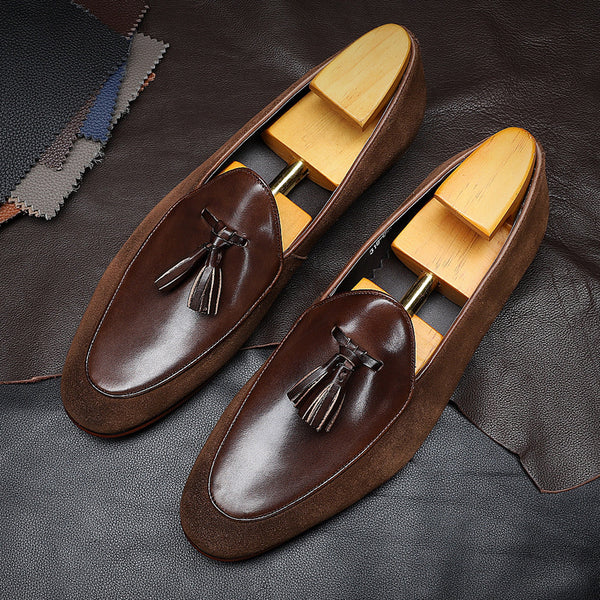 Men's Casual Round Toe Fringed Leather Shoes