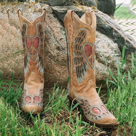 Openwork Heart Wings Western Boot