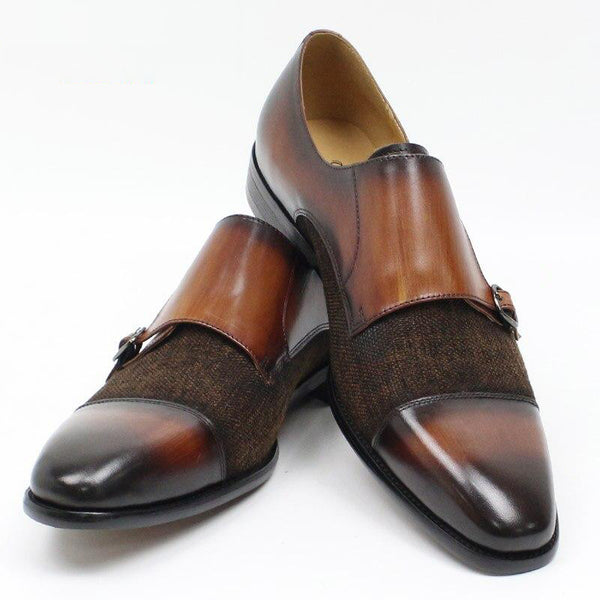 Monk Strap Genuine Leather Patchwork Shoes