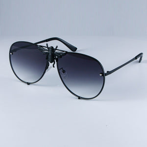 Luxury Metal Big Bee Pilot Sunglasses Gradient Lenses UV400 Retro Men Women
