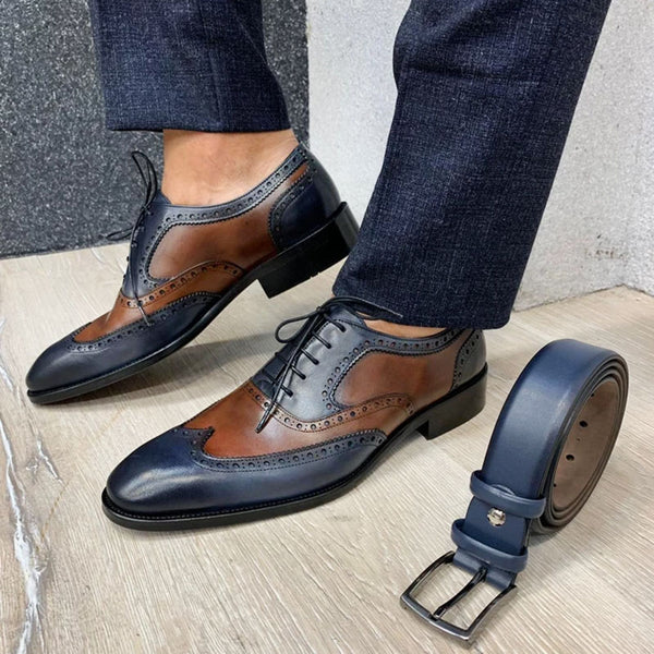 Fashion new men's brown leather shoes