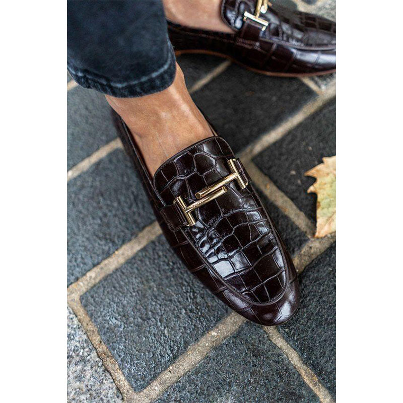 Men's New Crocodile Leather Buckle Loafers